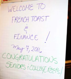frenh toast and finance sign